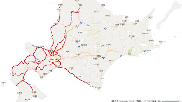 走破した経路(赤色の線)