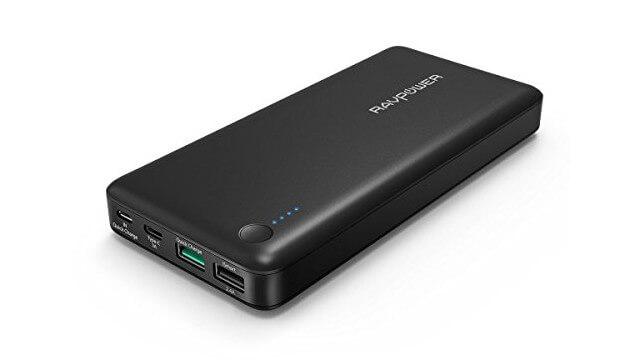 RAVPower モバイルバッテリー Quick Charge 3.0対応 Type-C変換アダプタ付 3ポート 20100mAh 74.3Wh スマホ充電器 大容量 急速充電 RP-PB043